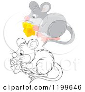 Cartoon Of A Black And White And Colored Cute Mouse Eating Cheese Royalty Free Vector Clipart
