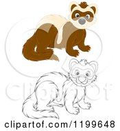 Cartoon Of A Black And White And Colored Cute Weasel Royalty Free Vector Clipart by Alex Bannykh