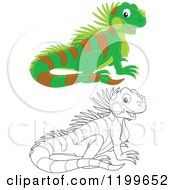 Cartoon Of A Black And White And Colored Cute Lizard Royalty Free Vector Clipart by Alex Bannykh