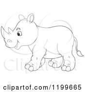 Cartoon Of A Black And White Cute Rhino Walking Royalty Free Vector Clipart by Alex Bannykh