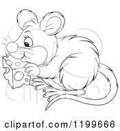 Cartoon Of A Black And White Cute Mouse Eating Cheese Royalty Free Vector Clipart
