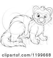 Cartoon Of A Black And White Cute Weasel Or Polecat Royalty Free Vector Clipart by Alex Bannykh