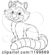Cartoon Of A Black And White Cute Raccoon Sitting And Smiling Royalty Free Vector Clipart by Alex Bannykh