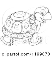 Cartoon Of A Black And White Cute Tortoise Walking Royalty Free Vector Clipart by Alex Bannykh