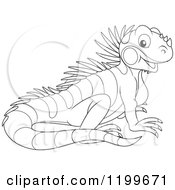 Cartoon Of A Black And White Cute Lizard Royalty Free Vector Clipart by Alex Bannykh