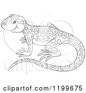 Cartoon Of A Black And White Cute Newt Royalty Free Vector Clipart by Alex Bannykh