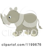 Cartoon Of A Cute Rhino Walking Royalty Free Vector Clipart
