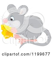 Cartoon Of A Cute Gray Mouse Eating Cheese Royalty Free Vector Clipart