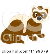Cartoon Of A Cute Brown Weasel Or Polecat Royalty Free Vector Clipart by Alex Bannykh