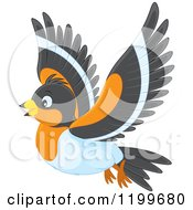 Cartoon Of A Cute Bramble Finch Flying Royalty Free Vector Clipart