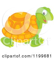 Cartoon Of A Cute Tortoise Walking Royalty Free Vector Clipart
