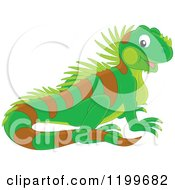 Cartoon Of A Cute Green Lizard Royalty Free Vector Clipart by Alex Bannykh