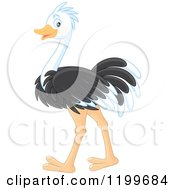Cartoon Of A Cute Ostrich Walking Royalty Free Vector Clipart by Alex Bannykh