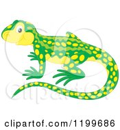 Cartoon Of A Cute Green And Yellow Newt Royalty Free Vector Clipart