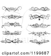 Clipart Of Black And White Swirl Border Flourish Design Elements Royalty Free Vector Illustration