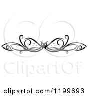Clipart Of A Black And White Swirl Border Flourish Design Element 5 Royalty Free Vector Illustration