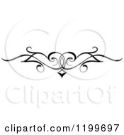 Clipart Of A Black And White Swirl Border Flourish Design Element 9 Royalty Free Vector Illustration