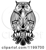 Clipart Of A Chubby Black And White Owl Royalty Free Vector Illustration by Seamartini Graphics