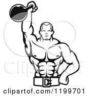 Clipart Of A Black And White Male Bodybuilder Using A Kettlebell For Tricep Extensions Royalty Free Vector Illustration