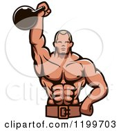 Clipart Of A Male Bodybuilder Using A Kettlebell For Tricep Extensions Royalty Free Vector Illustration by Vector Tradition SM