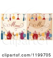 Clipart Of Beverage Menu Covers With Jars Bottles And Glasses Royalty Free Vector Illustration