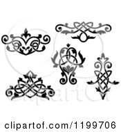 Clipart Of Black And White Ornate Floral Victorian Design Elements 2 Royalty Free Vector Illustration