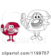 Clipart Of Red And Outlined Telephone Mascots Holding Receivers Royalty Free Vector Illustration