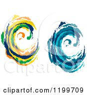 Clipart Of Colorful And Blue Painted Curling Waves 3 Royalty Free Vector Illustration