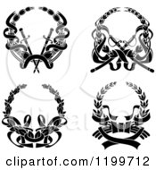 Clipart Of Black Laurel Wreaths With Swords And Ribbons Royalty Free Vector Illustration