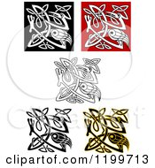 Clipart Of Celtic Heron Or Stork Knots 2 Royalty Free Vector Illustration