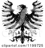 Clipart Of A Black And White Heraldic Eagle With Open Wings Royalty Free Vector Illustration