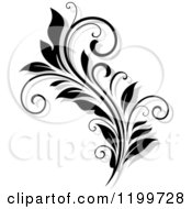 Clipart Of A Black And White Flourish With A Shadow 9 Royalty Free Vector Illustration