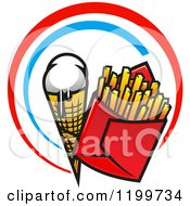 Clipart Of A Fast Food Design Of A Melting Waffle Ice Cream Cone And French Fries In Red And Blue Rings Royalty Free Vector Illustration by Vector Tradition SM