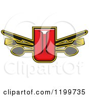 Clipart Of A Fast Food Design Of A Pitcher And Silverware Royalty Free Vector Illustration