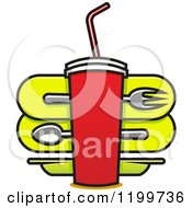 Clipart Of A Fast Food Design Of A Cup Over Silverware Royalty Free Vector Illustration