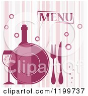 Clipart Of A Striped Menu Cover With Bubbles Cutlery A Plate And Wine Royalty Free Vector Illustration