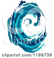 Clipart Of A Blue Painted Curling Wave 3 Royalty Free Vector Illustration by Vector Tradition SM