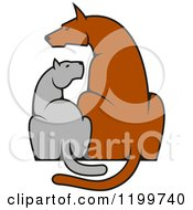 Clipart Of A Dog And Cat Sitting Side By Side Royalty Free Vector Illustration