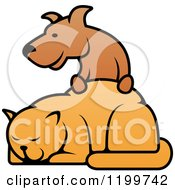 Clipart Of A Dog Resting His Paws On A Cat Royalty Free Vector Illustration by Vector Tradition SM