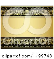 Clipart Of A Golden Background With Ornate Borders And Text Space Royalty Free Vector Illustration