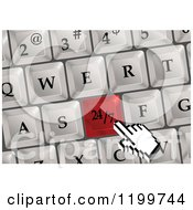 Clipart Of A Computer Hand Cursor Over A Red 24 7 Keyboard Button Royalty Free Vector Illustration by Vector Tradition SM