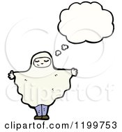 Cartoon Of A Costumed Ghost Thinking Royalty Free Vector Illustration by lineartestpilot