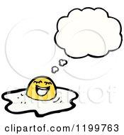Cartoon Of A Broken Egg Thinking Royalty Free Vector Illustration