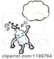 Cartoon Of A Milk Bottle Thinking Royalty Free Vector Illustration