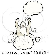 Cartoon Of A God In Heaven Thinking Royalty Free Vector Illustration by lineartestpilot