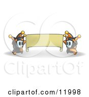 Joker Jester Characters Holding A Blank Banner Clipart Illustration