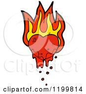 Cartoon Of A Bloody Flaming Broken Heart Royalty Free Vector Illustration