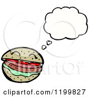 Cartoon Of A Hamburger Thinking Royalty Free Vector Illustration by lineartestpilot