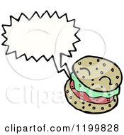 Cartoon Of A Hamburger Speaking Royalty Free Vector Illustration by lineartestpilot