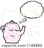 Cartoon Of A Teapot Thinking Royalty Free Vector Illustration by lineartestpilot